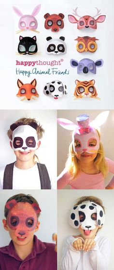 Printable 3D animal masks by Happythought