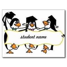 Cute Cartoon Graduating Penguins w/Banner Post Cards shipping to Harrison City, PA  #graduation #classof2014