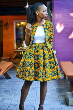 Ankara skirt and blazer coord outfit | African print set with skirt and blazer