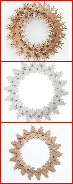 construct a beautiful christmas wreath. Fun craft or all ages #christmascarft #chrsitmasdecor #wreath #cardboardart #snowflake #ad #hollyleaf