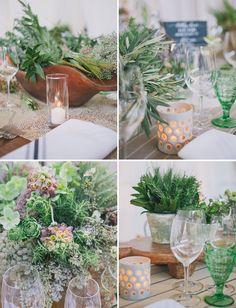 Organic potted plant tables cape. Industrial garden birthday party 50th. Lush garden meets industrial warehouse vibe. Edyta Szyszlo Photography. Venue: Pier 48 San Francisco, California.