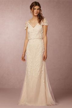BHLDN Aurora Gown in  Bride Wedding Dresses Sleeves at BHLDN