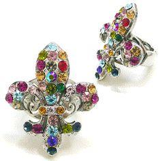 Multi Colored Rhinestone Fleur de lis Ring: Sierra Western Wear