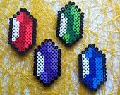 DIY Perler Bead Legend of Zelda Rupee Magnet Set
