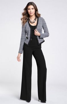 """St. John Collection Tweed Jacket & Wide Leg Pants   Nordstrom - Very """"work"""" me, right @dawn trimble?"""