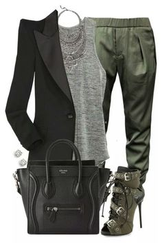 Stitchfix: Love this ensemble minus the heels and i would pick a simpler necklace. Business casual green black & grey