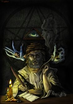 illustration of the character created by hp lovecraft, abdul alhazred, the author of the necronomicon. Necronomicon Lovecraft, Yog Sothoth, Lovecraftian Horror, Eldritch Horror, Hp Lovecraft, Illustrations, Science Fiction, Fantasy Art, Scary