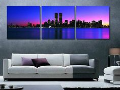 Manhattan Night View 3 Twin Towers Wall Oil Painting no Framed