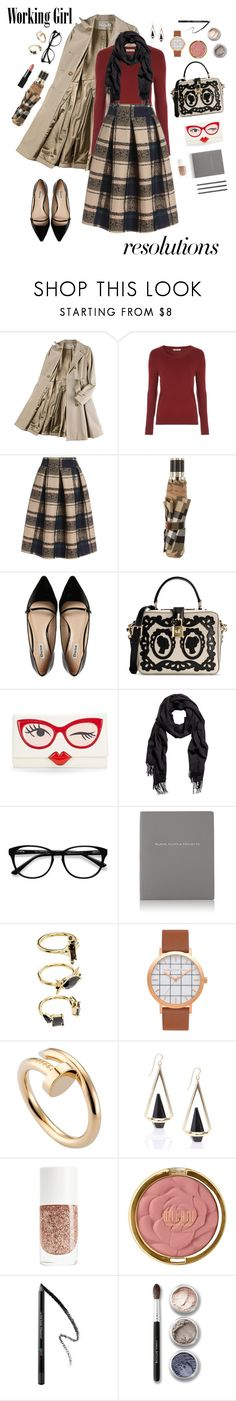 """#PolyPresents: New Year's Resolutions"" by emeisenbacher ❤ liked on Polyvore featuring Opening Ceremony, Burberry, Dune, Dolce&Gabbana, Kate Spade, H&M, EyeBuyDirect.com, Smythson, Design Letters and Noir Jewelry"