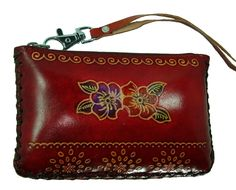 Hand Made Leather Change/coin Purse, Rectangle Shape, Lovely Flower Embossed, a Mini Wristlet Wallet, Collectible. (Red). Use the choice genuine, special-tanned cowhide. Special 3D leather produce techniques. 100% Hand-Made for each single item. A great ideal for an unique top grade gift with all seasons. Perfectly for hold ID Card and Credit Card (up to 20).