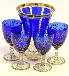 Moser Cobalt, Parcel-Gilt Bohemian Glassware