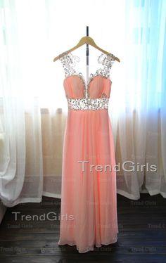 Pink Chiffon Aline Long Prom Dresses Evening Dresses by TrendGirls