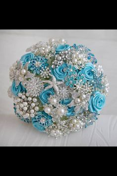 Blue Broach Bouquet.
