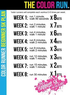 Training Plan for Beginners from The Color Run. Appropriate, since running in a Color Run is one of my first main training goals! Sport Fitness, Fitness Diet, Health Fitness, Fitness Plan, Workout Fitness, Army Workout, Fitness Friday, Woman Fitness, Fitness Challenges
