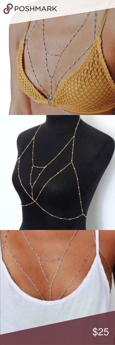 GOLD BRALETTE BODYCHAIN bikini necklace JEWELRY New! Sexy body chain in a bralette design outline. In GOLD tone, light weight. Lobster clasp closures. So fierce under bathing suits, low hanging tops, dresses of all types, even button down shirts. Knock them dead with this alternative to the standard necklace. Resort wear must!  (0131) Nasty Gal Jewelry Necklaces