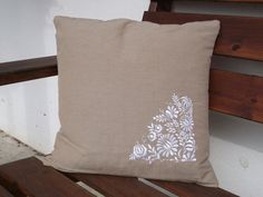 Linen cotton pillow case with embroidered Hungarian motif