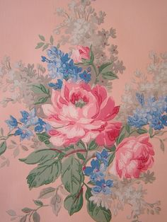 Vintage Wallpaper - Large Pink Roses on Salmon