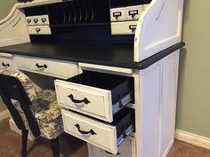 Rolltop Desk side angle of drawers Desk Redo, Desk Makeover, Diy Desk, Diy Furniture Decor, Furniture Projects, Painted Furniture, Bookcase Desk, Barrister Bookcase, Painting A Desk Diy