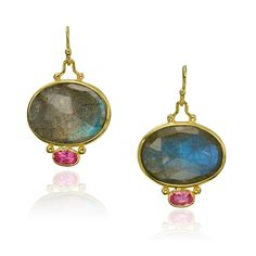 Labradorite and pink sapphire earrings in yellow gold designed by The Mazza Company