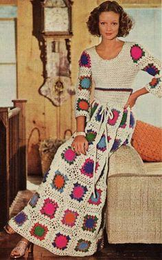Granny Square Maxi Dress