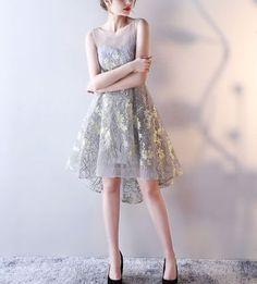 ドレス-ミニ・ミディアム 刺繍 シースルー テイルデザインドレス 【2色】(5)