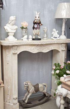 Купить Камин деревянный бежевый Прованс, Кантри декорация - бежевый, камин, каминный портал