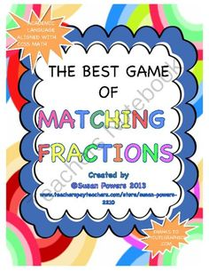 Math Facts Fun Activities - This is a fun activity with several games in one where the children have their fractions facts reinforced. it is fully able to be differentiated since it contains illustrations and numbers.  I have used this successfully with 3rd and 4th grades in math centers and small group activities..  A GIVEAWAY promotion for Math Activity Matching Fractions Game from Cool Teaching Tools on TeachersNotebook.com (ends on 9-10-2013)