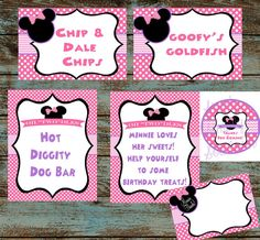 """Minnie Mouse Oh """"TWO""""DLES Birthday Party Pack, Decor, Food Signs, Cupcake Toppers, Thank You Card - Digital File"""