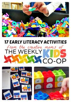17 creative and fun Early Literacy Activities from the creative mom blogs of The Weekly Kids Co-Op Link Party!