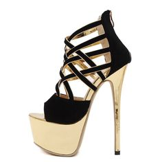New Women's Party Dressy Pumps Very High Stiletto Heel Black Gold Shoes Sandals #Unbranded #Sandals #Formal #blackstilettoheels #goldstilettoheels