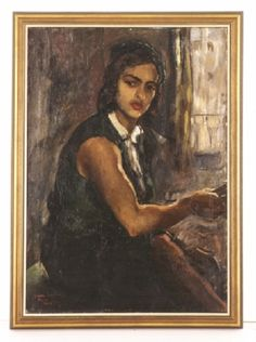 Self-Portrait in Green, by Amrita Sher-Gil. 1934.