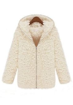 This jacket looks so warm and COZY! I would layer this over an off-white turtleneck and wear it with black leggings and my UGG Boots! White Plain Hooded Zipper Long Sleeve Wool Coat #winter #fashion