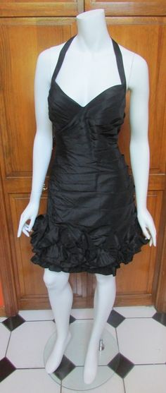 JS Boutique Black Halter Band Ruffle Bottom Mini Dress Size 6 NWT #JSBoutique #BandDress #Cocktail