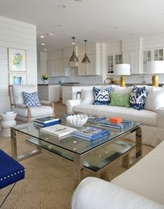 Glass and Nickel Coffee Table - Cottage - living room - Munger Interiors Coastal Living Rooms, Cottage Living, Home And Living, Living Spaces, Beach House Decor, Home Decor, Beach Condo, Beach Houses, Design Case