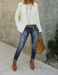 Luv da cream blazer wit da tan leather accessories.