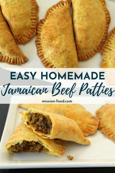 These Jamaican Beef Patties are similar to baked empanadas, but are classically Jamaican in flavor. Curry powder-laced dough yields a lovely color and flavor, as well as a beautifully flaky texture. Jamaican Dishes, Jamaican Recipes, Beef Recipes, Cooking Recipes, Jamaican Meat Pies, Jamaican Drinks, Recipies, Jamaican Beef Patties, Jamaican Patty