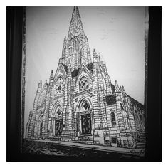 This is a print of the Halifax Cathedral in Nova Scotia, Canada. If you look very closely at the bottom right hand corner there's my signature. This I had to engrave backwards, and everything else in the print! It's a tricky process. -2016