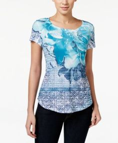 Style & Co. Floral Printed T-Shirt, Only at Macy's