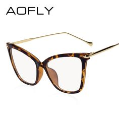 2307e58aa04 AOFLY BRAND CONCEPTION Classic Cat Eye Glasses Women Vintage Style Optical  Clear Plain Glasses Women Glasses