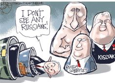 Pat Bagley - Salt Lake Tribune - Trump's Russian Sessions - English - Trump, Russia, Putin, Sessions, AG, attorney General, Jeff Sessions, Kislyak, lobbyists, DC, Swamp, Russian, Hack, elections, 2016, collusion
