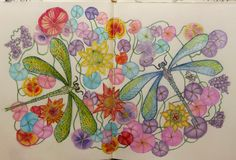 Colored 2 page image with Crayola pencils. From Jessica Palmer's Book: Tangle Wood. Colored By Becky