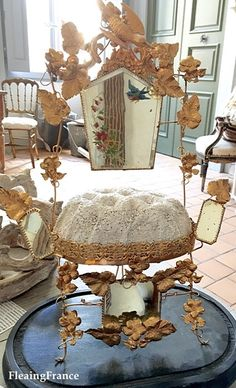 FleaingFrance....antique French marriage crown display