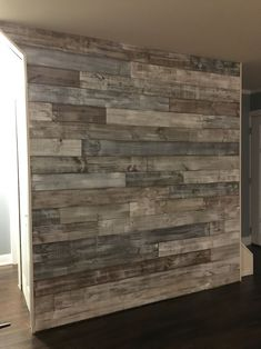 Hold the sea salt. Premium cedar shiplap does wonder to add a modern exposed wood look to any room or home. These driftwood inspired colors not only offer a sense of cal. Wooden Accent Wall, Ship Lap Accent Wall, Wooden Wall Bedroom, Pallet Walls, Diy Pallet Wall, Diy Wood Wall, Pallet House, Plank Walls, Mud Rooms