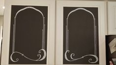 Chalkboard chalk (dk gray) and a white paint pen on kitchen cabinets for grocery lisy, menu, etc. These aren't exactly symmetrical, but I like the way they look.