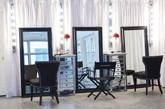 make up station-  love the mirrors & side cabinets; would need higher chairs