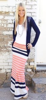 This skirt with the navy cardigan, LOVE!