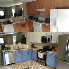 Kitchen Makeover With New Appliances And Two Toned Painted Cabinets. Rustoleum  Cabinet Transformations In Cottage