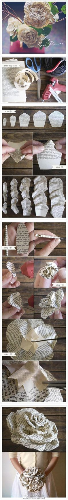 Wedding Craft Ideas...paper flowers. I could make these in any scrapbook paper I want. :)