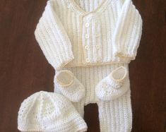 Baby shower gift,layette crochet sweater set, many colors, Christening/Newborn/Soft Paton's Beehive Yarn/Baby Shower gift Christening Outfit, Baby Christening, Hand Crochet, Crochet Baby, Baby Layette, Soft Baby Blankets, Sweater Set, Handmade Baby, Baby Booties