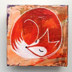 Fox Nap Painting - acrylic mixed media by Leah Riley (futuregirl.etsy.com)